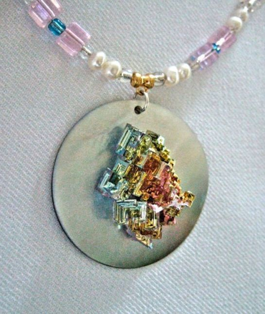 Geometric Rainbow Bismuth Crystal MOP Statement Necklace
