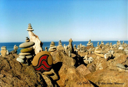 Color Photograph, Unique Seascape with Stone Cairns, Limited Edition, Signed
