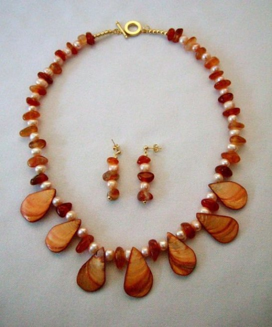 Carnelian Agate Peach Fresh Water Pearl Necklace with MOP Shell Teardrops, Matching Earrings