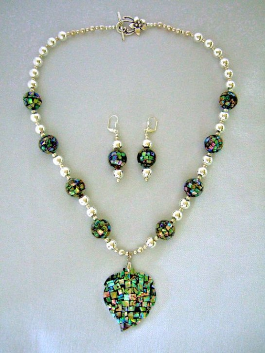 Abalone Shell Pendant Silver Plated Statement Necklace with Matching Earrings, Exquisite Abalone Shell Mosaic Beads