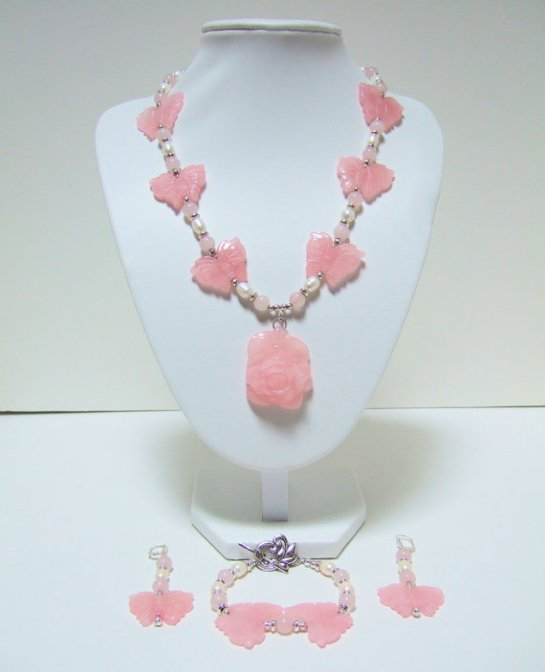 Pink Quartz Carved Rose and Butterflies, Pearl, Necklace Combined With Silver Plated Beads. Matching Earrings and Bracelet