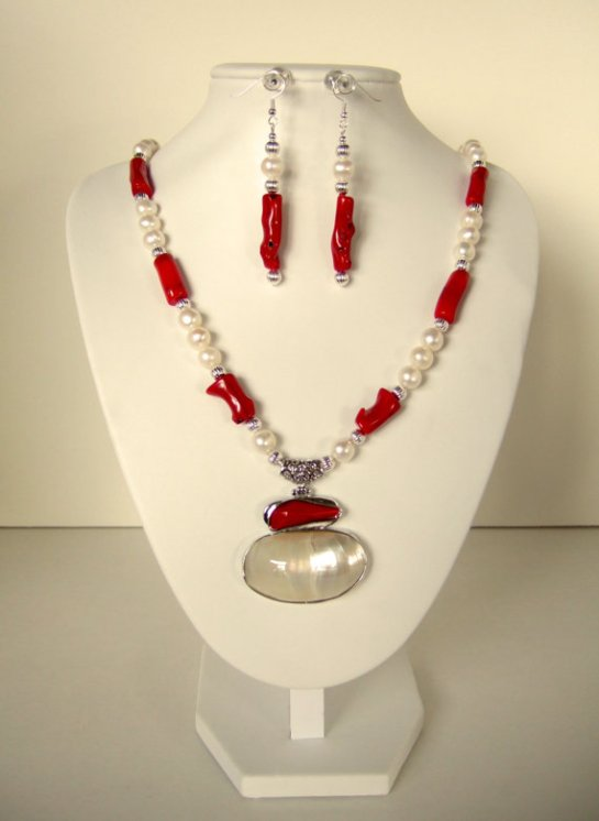 Red Coral Pearl Necklace with MOP Red Coral Silver Pendant, Hand Beaded with Freshwater Pearls and Silver Plated Beads. Matching Earrings.
