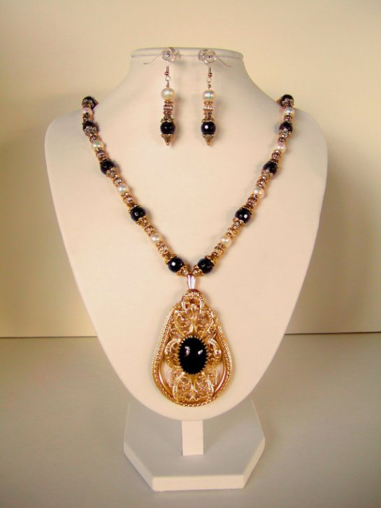 OOAK Baroque Pendant Necklace, Garnets, Freshwater Pearls, Ornate Gold Tone Bead Caps and Beads