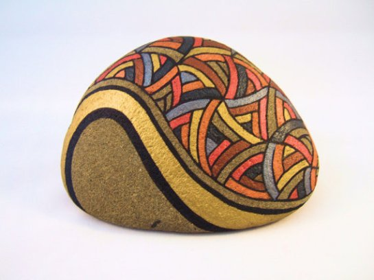 Painted Rock Unique OOAK Collectible Art for Home Office, 3D Art Object in Gold, Orange, Brown, Slate Blue, and Natural Beige Stone.