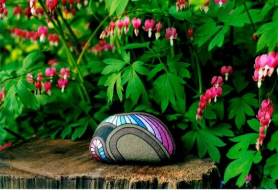 Limited Edition Photograph, Unique Compostion of a Painted Rock, Set Among Pink Bleeding Hearts with Emerald Green Leaves