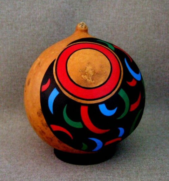 OOAK Hand Painted Gourd Art, Unique Bear Claw Design in Black, Red, Blue, Green