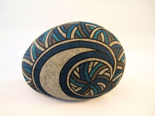 Ishi Streamers Design Painted Rock Unique OOAK Collectible Art