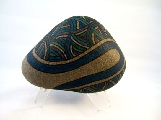 Unique OOAK Collectible Painted Rock Art for Home or Office, 3D Art Object in Blues, Aqua, Turquoise, Green, Charcoal, and Natural Stone