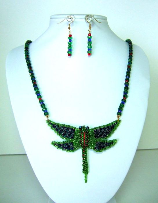 Unique Hand Beaded Dragonfly Pendant Statement Necklace and Earrings, Emerald Green, Red, and Blue Glass Beads