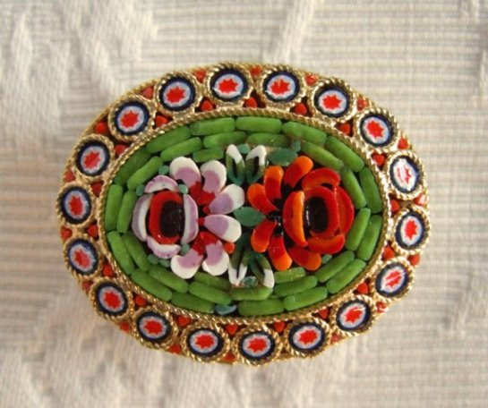 Vintage Italian Mini Mosaic Floral Brooch, Oval Shape with Red, Pink, and Green Glass Tiles