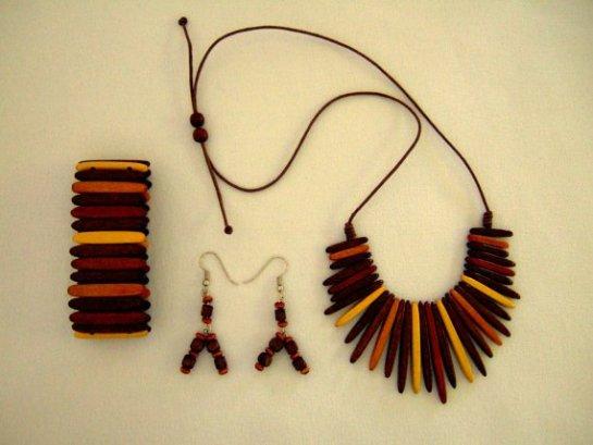 Necklace, Earrings, Bracelet Vintage Wooden Danish Design, Gift for Her. Mid Century Jewelry.