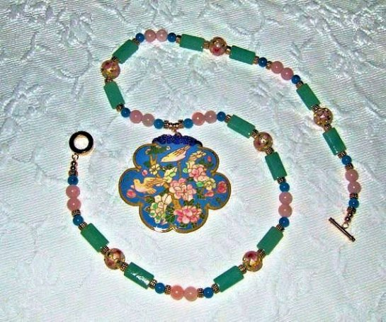 Cloisonne Floral Pendant, Gemstone, Statement Necklace, Rose Quartz, Blue Jade, Green Agate, Bird Motif, Gold Plated Beads
