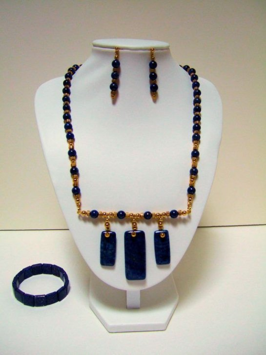 Blue Lapis Gemstone, Egyptian, Statement Necklace, Beaded Earrings, and Bracelet, with Gold Plated Beads
