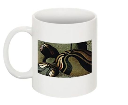 Coffee, Tea or Cocoa Mug with Striking Black Gold and Silver Image of Painted Rocks