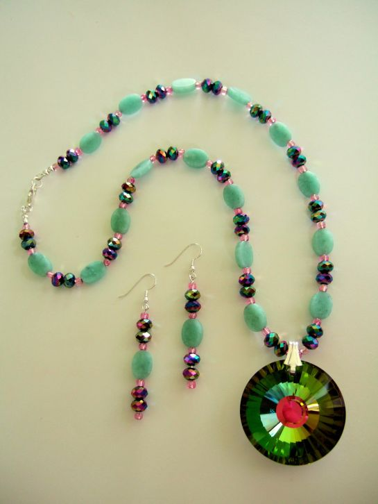 Unique Artisan Faceted Rainbow Glass Pendant Necklace, Beaded with Green Amazonite Stone and Faceted Pink and Green Metallic Beads