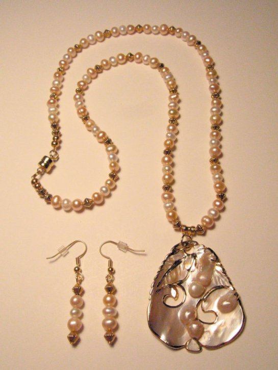 Blister Pearl MOP pendant hand beaded necklace, with white and pink freshwater pearls, and gold plated beads