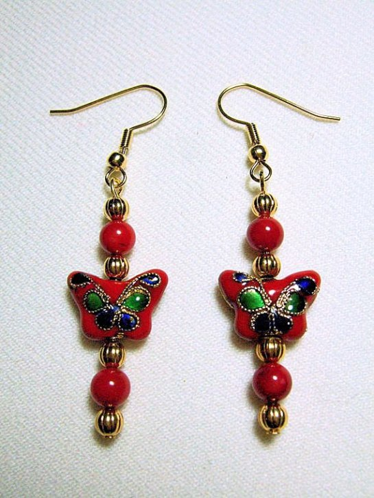 Red Cloisonne Butterfly Earrings with Red Coral and Gold Plated Ribbed Beads