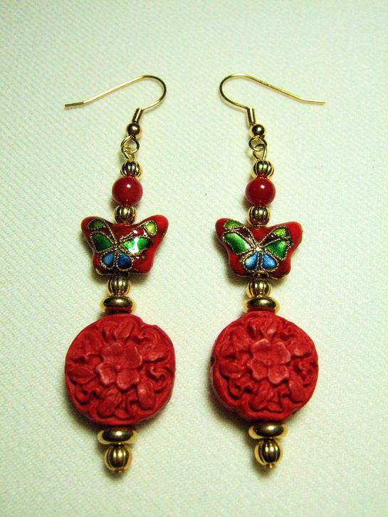 Colorful Red Cloisonne Butterfly Earrings with Red Coral, Carved Cinnabar Discs, and Gold Plated Beads