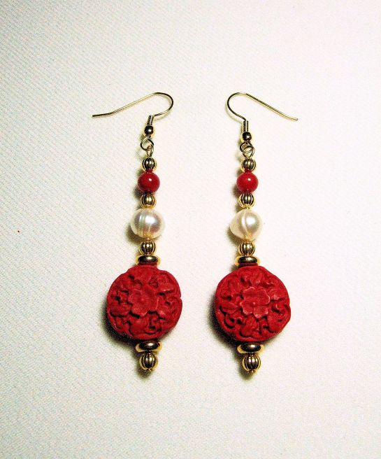Red Cinnabar and Freshwater Pearl Earrings, with Gold Plated Beads