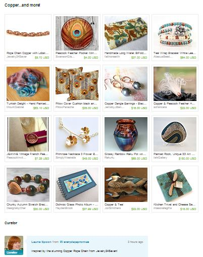 Copper...and more!  Treasury Collection of creations on Etsy