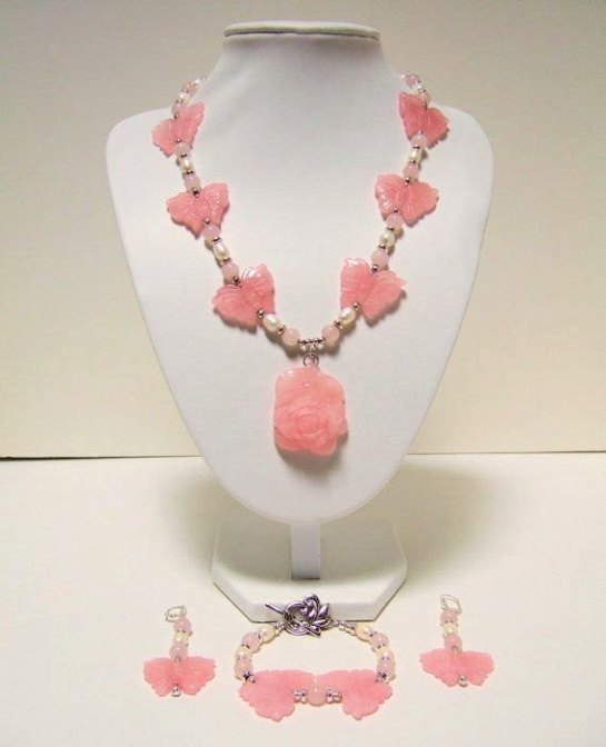 Valentines Day Rose Quartz Butterflies and Pearls Necklace, Bracelet, and Drop Earrings.