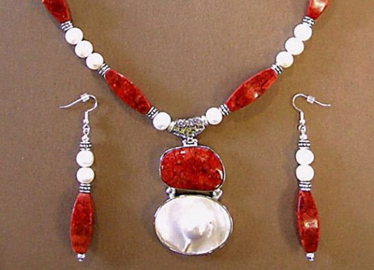 Red Coral Pearl Silver Pendant Necklace and Earrings with Freshwater Pearls and Red Sponge Coral Beads