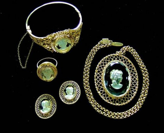 Whiting Davis Designer Vintage Jewelry Full Parure, Intaglio Cameo Necklace, Earrings, Bracelet, and Finger Ring