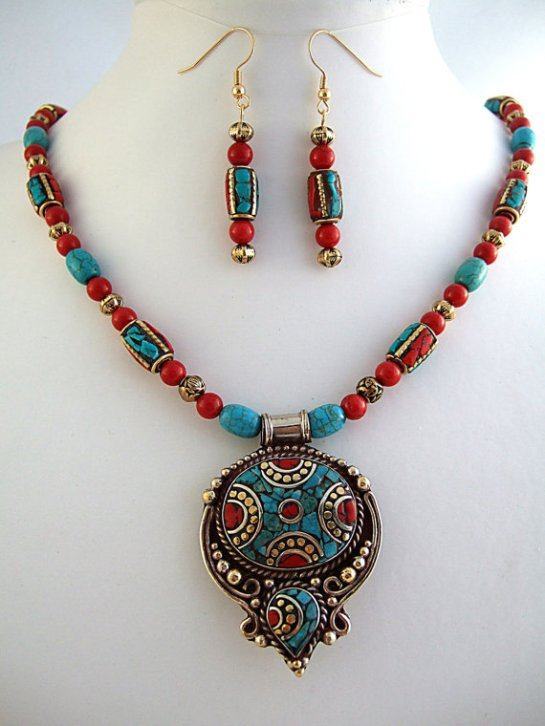 Natural Turquoise & Red Coral Tibetan Beaded Pendant Necklace and Earrings