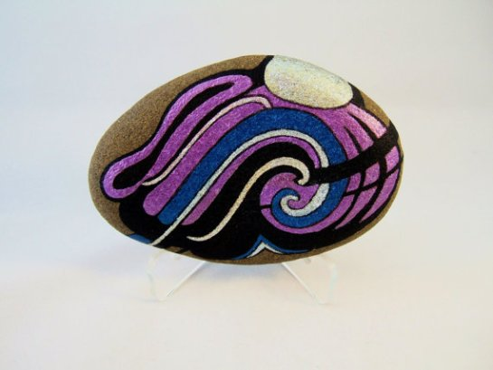 Unique 3D Art Abstract Painted Rock, with 2 Different Designs, Great for Home or Office Decor
