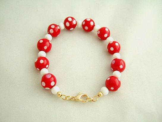 Red & White Polka Dot Bracelet, Lamp Work Glass