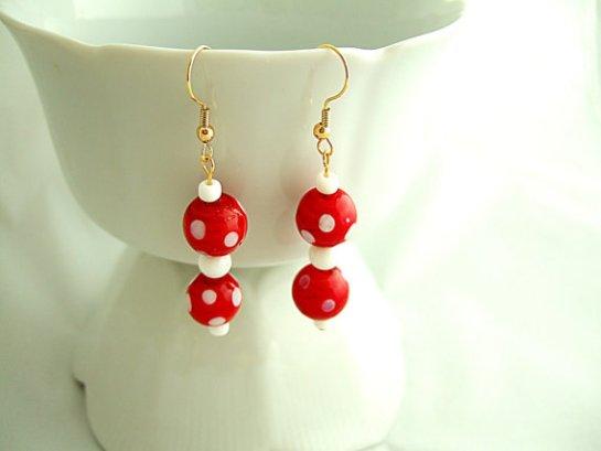 Red and White Polka Dot Earrings, Lamp Work Glass