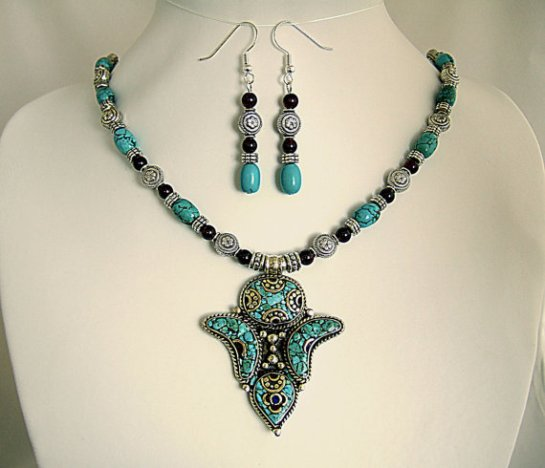 Turquoise Tibetan Pendant Necklace Beaded with Garnets and Turquoise Beads. Matching Earrings