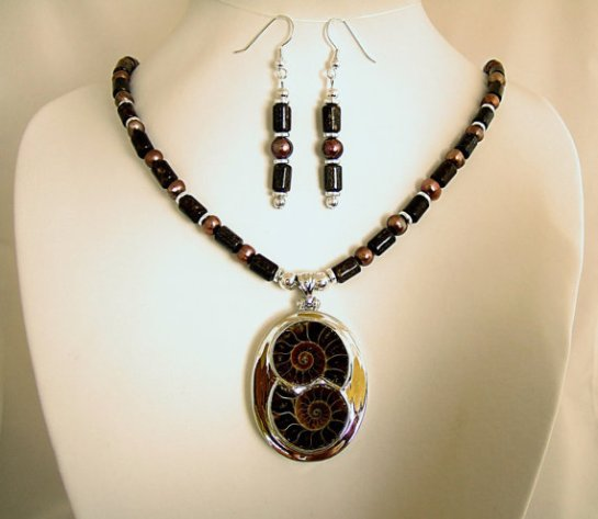 Ammonite Fossil Pendant Necklace with Brown Freshwater Pearls, Bronzite Stone Beads, and Silver Plated Beads