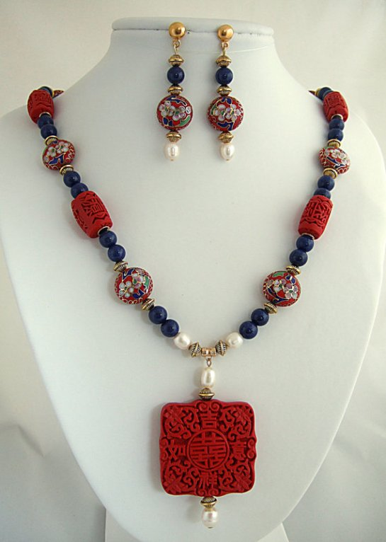 Blue Lapis Gemstone Statement Necklace with Carved Red Cinnabar and Cloisonne beads, Freshwater Pearls, Matching Drop Earrings