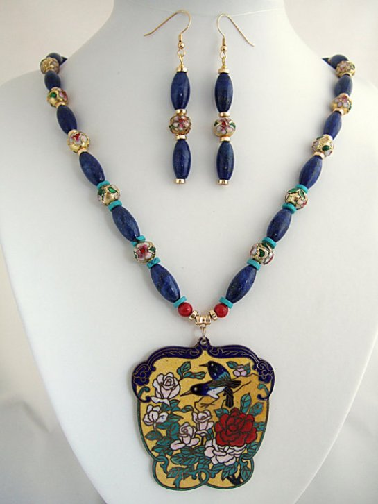 Vintage Cloisonne Floral & Bird Pendant Necklace with Blue Lapis Stone, Turquoise Stone, Red Coral, and Gold Beads. Beaded Drop Earrings