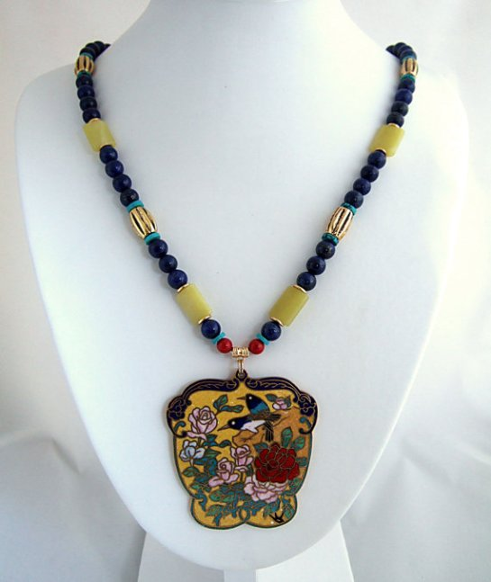 Beautiful Floral & Bird Vintage Cloisonne Pendant Necklace with Blue Lapis, Turquoise, Yellow Quartz, Red Coral, and Gold Beads.