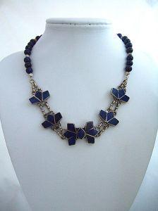 Blue lapis bracelet necklace full face softer cooler     DSCF7874