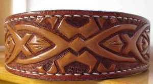 custom tooled leather celtic designed dog collar from acrossleather in new castle de