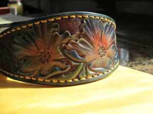 custom tooled leather hound collar