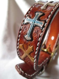 custom tooled cross leather dog collar