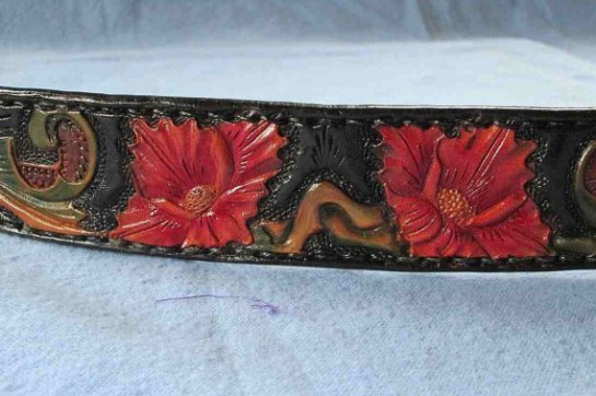 Designer medium large leather dog collar , Red floral dog collar , Leather collars, Border Collies collars, Poodle collar, Spaniel collars