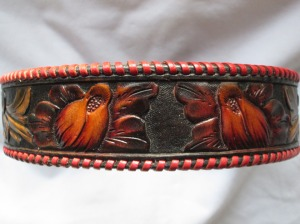 Hand tooled leather dog collars
