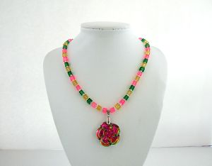 Iridescent Flower glass necklace  1  brighter lighter adjusted  DSCF9712