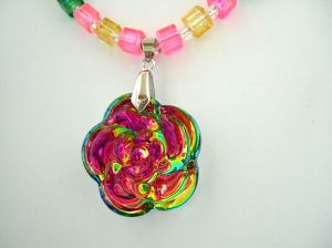 Iridescent Flower glass necklace 3 adjusted    DSCF9714
