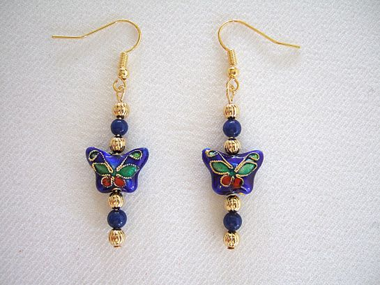 Lapis 4mm butterfly earrings  unsharp light       DSCF9864