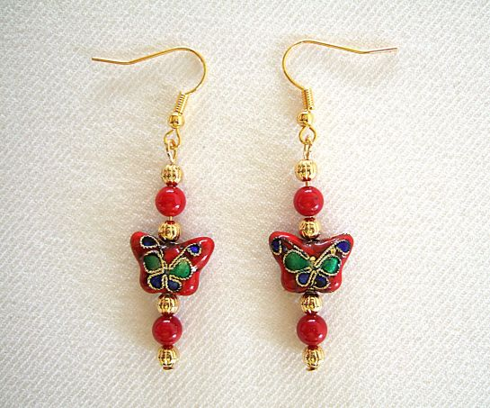 Red cloisonne butterfly earrings unsharp lighter    DSCF9856