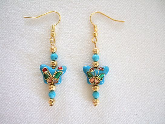 Turquoise butterfly earrings  straightened lighter unsharp   DSCF9861