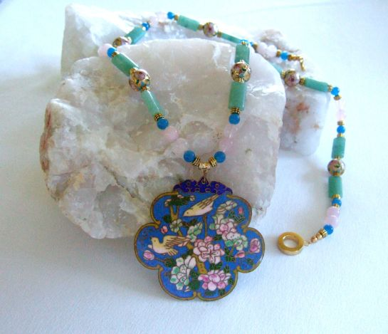 BEST Scalloped blue cloisonne bird flower necklace DSCF7671